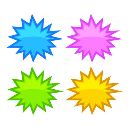 yellow: Bursting speech star bubbles Illustration