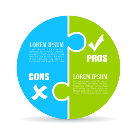 cons: Pros and cons jigsaw chart Illustration