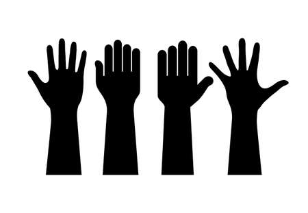 Raised human hands contours