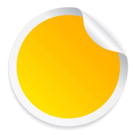丸い黄色のステッカー