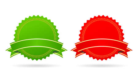 Green and red star medallions set Illustration