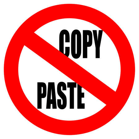 No copy paste sign Vettoriali
