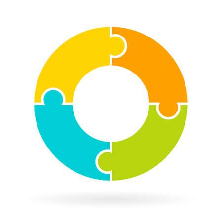 segmento: Diagrama del ciclo del rompecabezas de cuatro partes Vectores