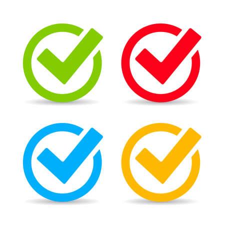 Tick-Zeichen-Icons Set Vektorgrafik