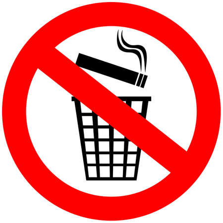 smoking place: Do not throw cigarette butts in trash can Illustration