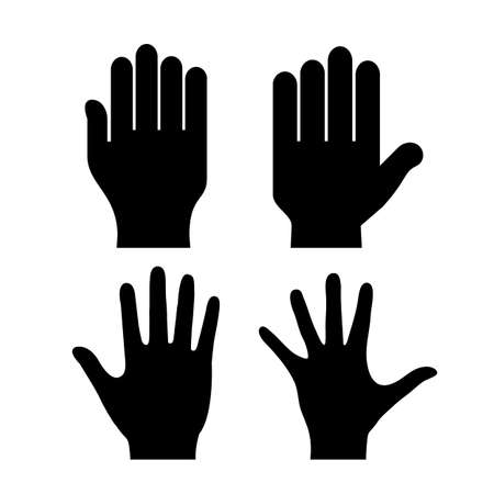 outstretched: Human hand palm silhouette Illustration