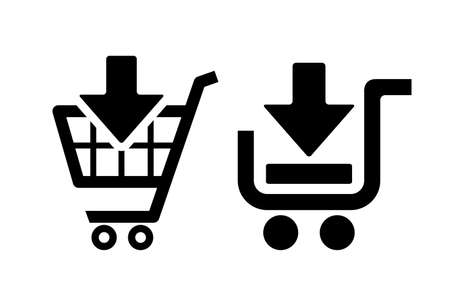 add to cart: Add to shopping cart icons set Illustration
