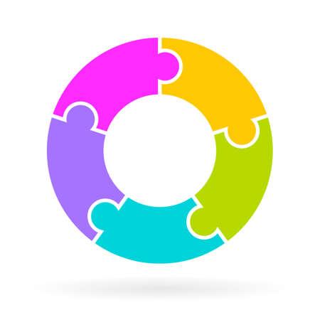 ciclo de vida: 5 pasos diagrama de ciclo de vida Vectores