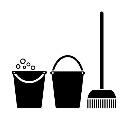 carpet cleaning service: Bucket and mop, cleaning icon