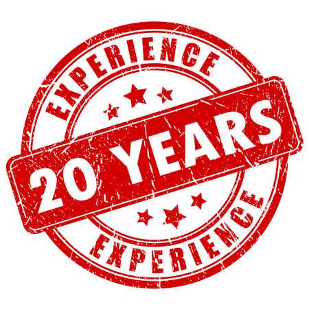 20 años de sello de goma de la experiencia