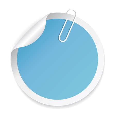 Blue round sticker with paperclip Ilustração