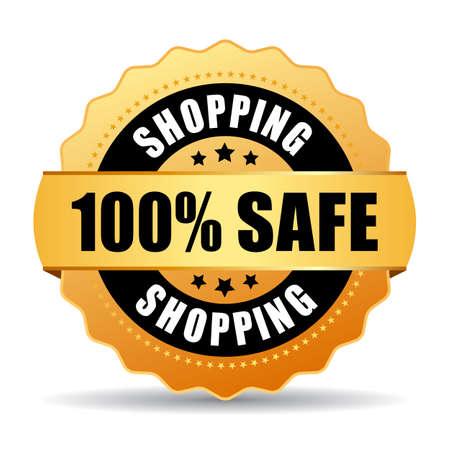 webshop: 100 safe shopping gold seal Illustration