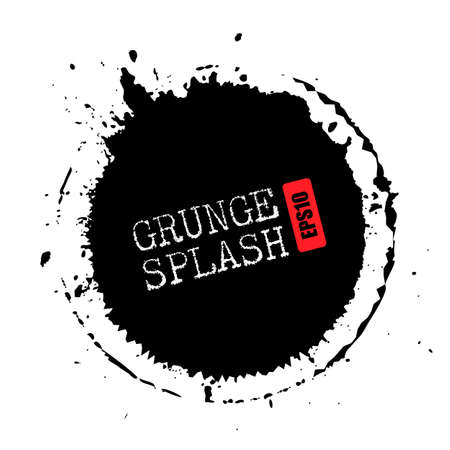 Grunge splash circle vector illustration Çizim