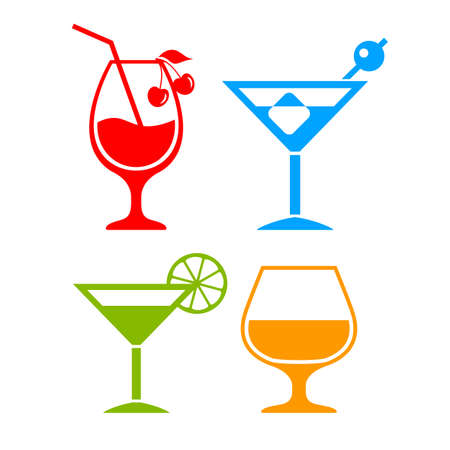 Colorful cocktail icon Illustration