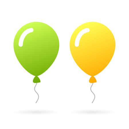 Green and yellow rubber balloons