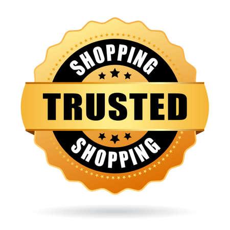 ショッピングのエンブレムを信頼  イラスト・ベクター素材