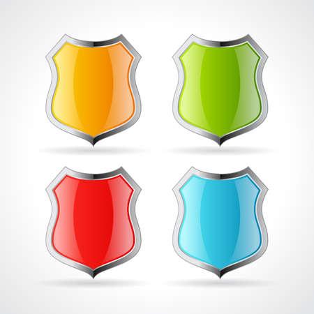 Metallic glossy shield icons