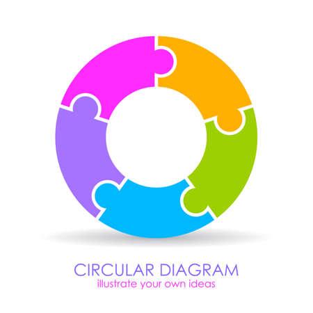 Pięć układów układanki okrągłe schemat Ilustracje wektorowe