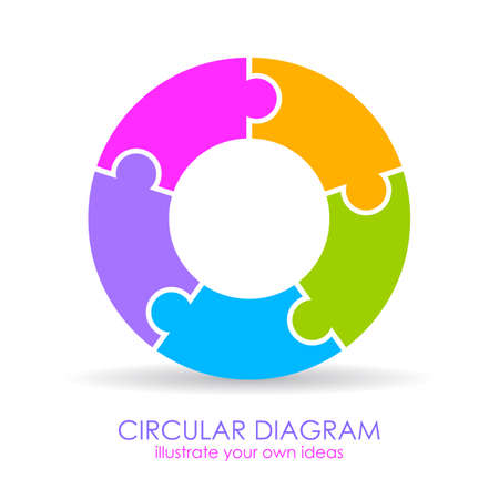 Five puzzle elements circular diagram layout