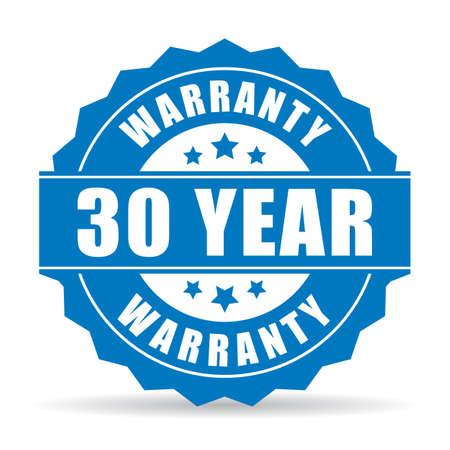 year: 30 year warranty icon Illustration