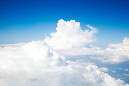 Above the clouds, view from airplane Stock Photo