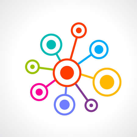 shared sharing: Network connection abstract icon Illustration