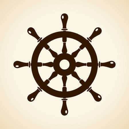 steering: Boat steering wheel icon Illustration