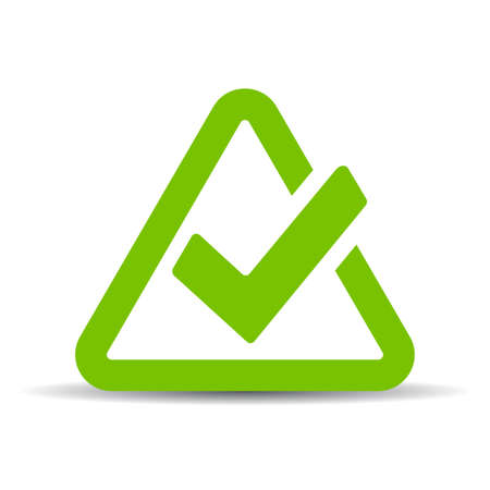 Green triangular tick icon