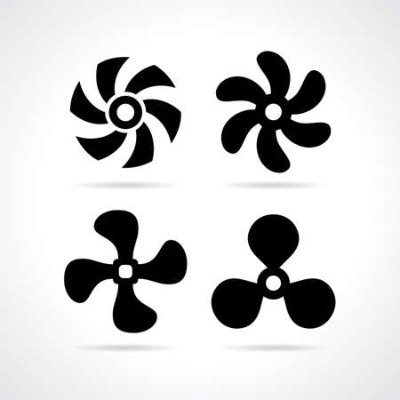 Fan propeller icon set
