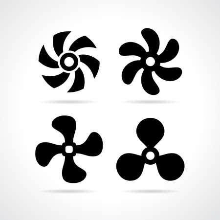 Ventilador conjunto de iconos de la hélice