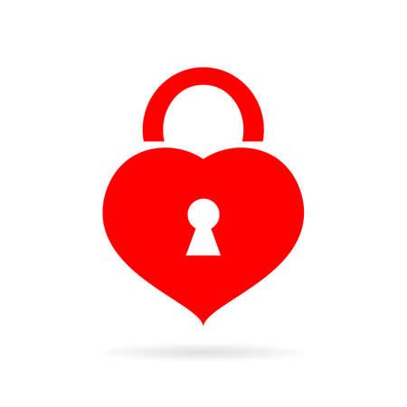 Heart shaped lock icon Illustration