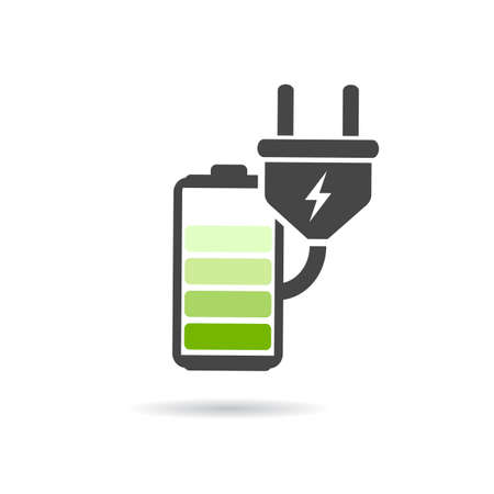 Battery charging icon Illustration