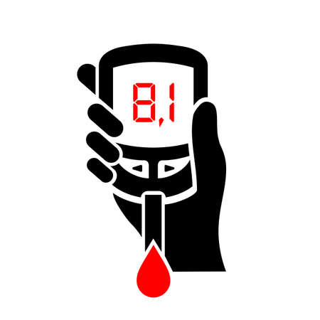 blood sugar: High level of blood sugar vector icon Illustration
