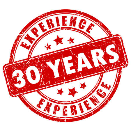 30 años de sello de goma de la experiencia