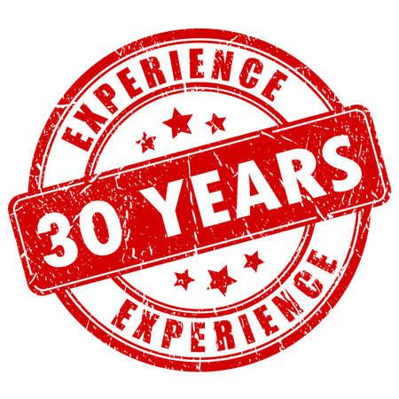 30 anni timbro di gomma di esperienza