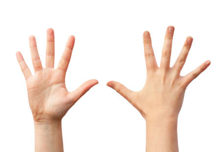 Two empty human hands, front and back view Stockfoto