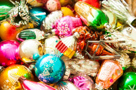 antique christmas decorations colorful background stock photo 63064836