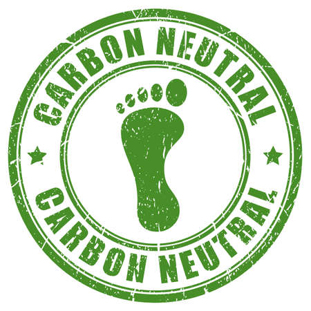 carbon footprint: Carbon neutral footprint rubber stamp