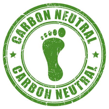 Sello de goma de la huella de carbono neutral