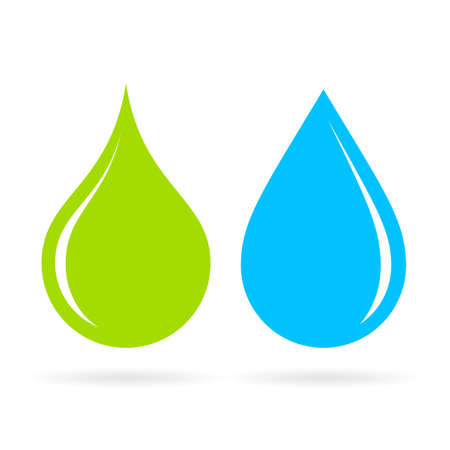 Green and blue water drops