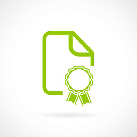 lesson: Green certificate document icon