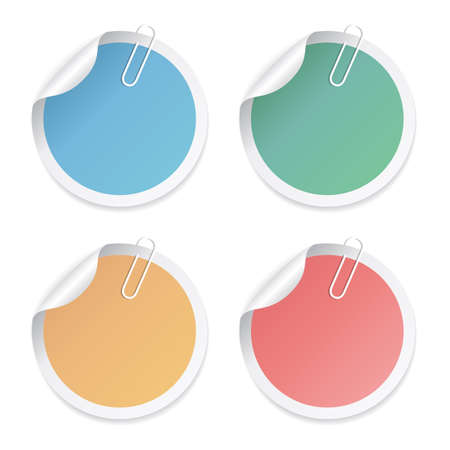 Round stickers set with paper clip Stock Illustratie