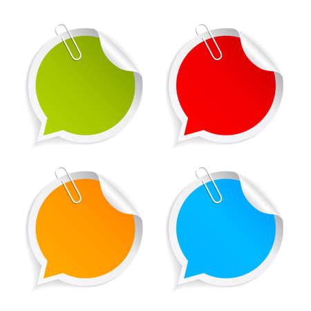 Ensemble d'autocollants en papier coloré Banque d'images - 64136636