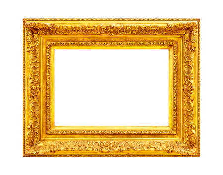 Antique ornate gold frame isolated on white background