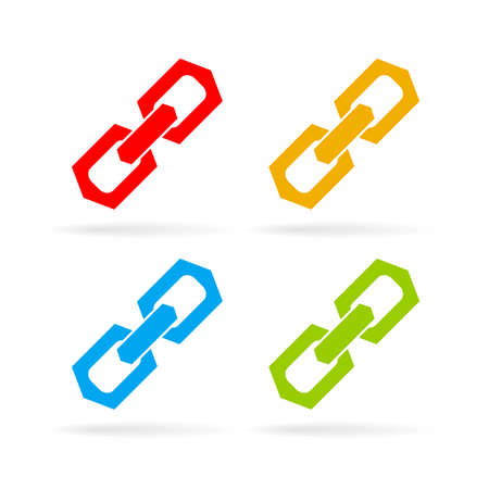 pressure linked: Chain link icons set Illustration