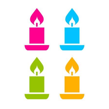 advent candles: Color candle icon set