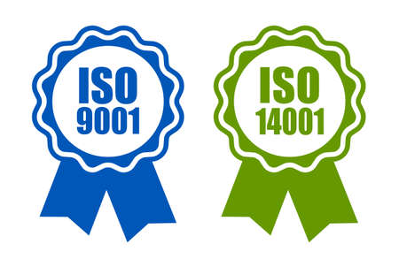 Iso 9001 and 14001 standard certified icons Vectores