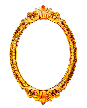 Gold wooden mirror frame isolated on white background