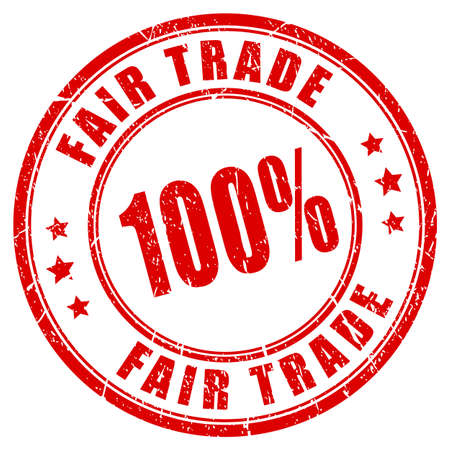 trade fair: 100% fair trade guarantee stamp