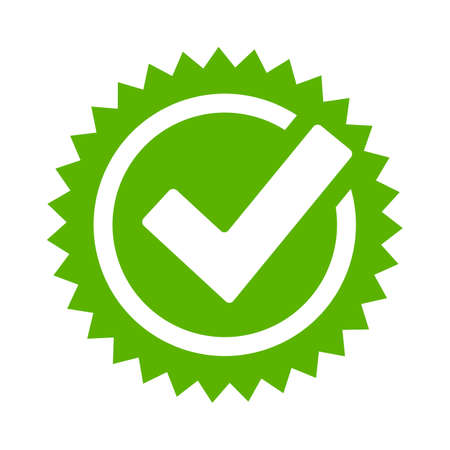 approval icon: Tick approval star icon
